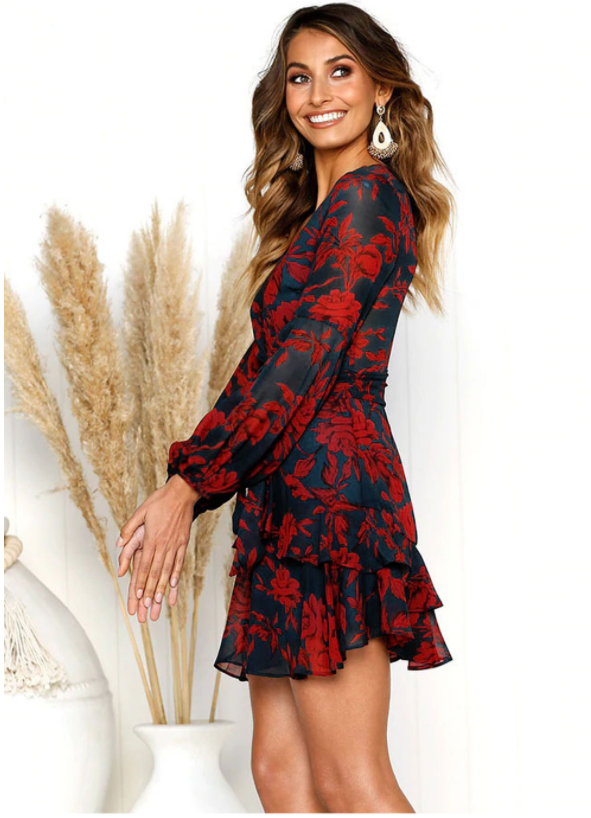 Print V-neck Long Sleeve Short Dress