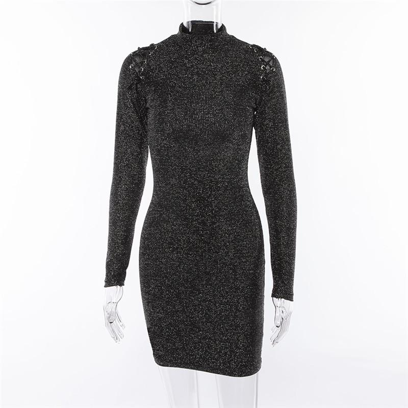 Solid Color High Neck Long Sleeves Short Bodycon Dress