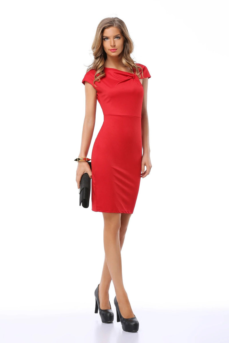 Slim V-neck Short Sleeve Knee Length Dress