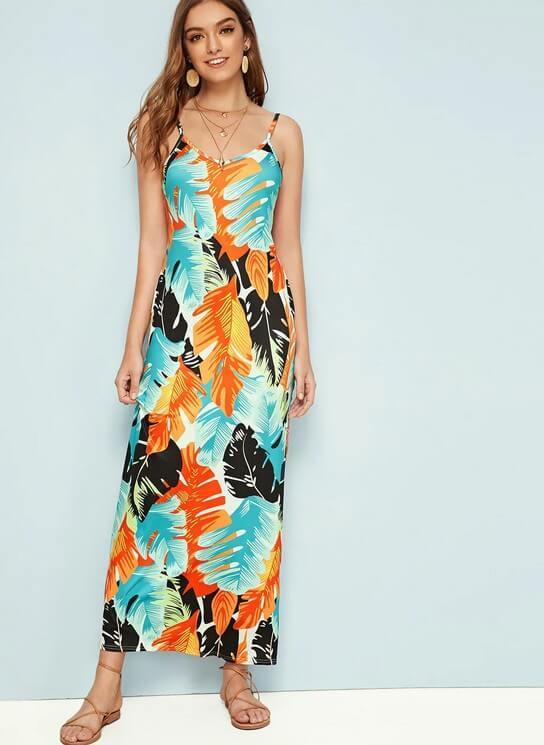 Flower Print Scoop Loose Sleeveless Long Dress