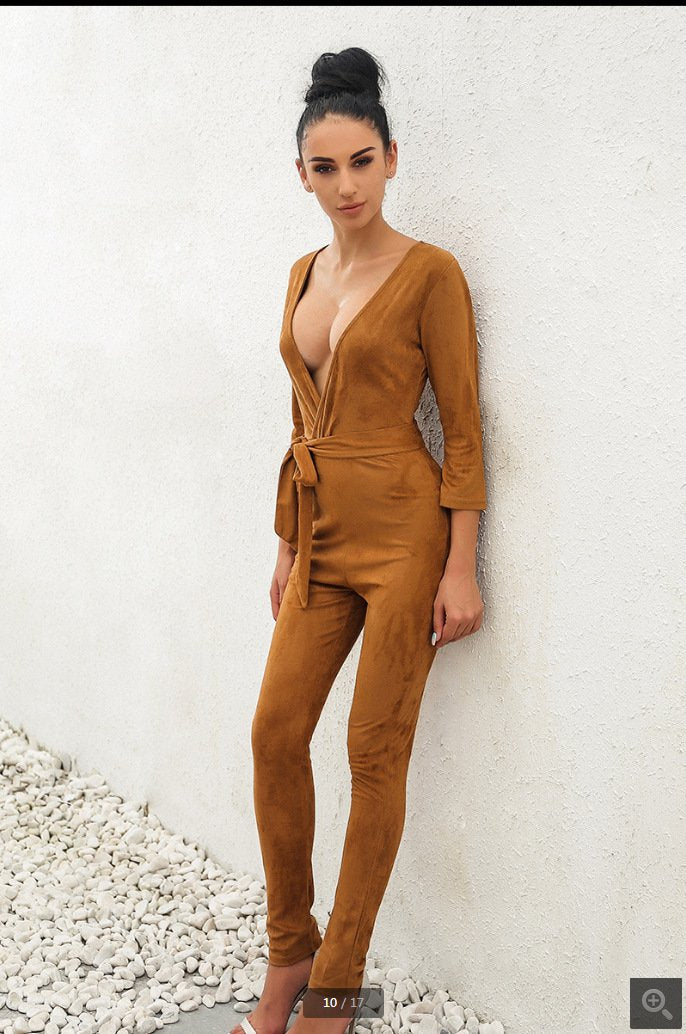 Suede Deep V-neck Pure Color Belt Long Slim Jumpsuit