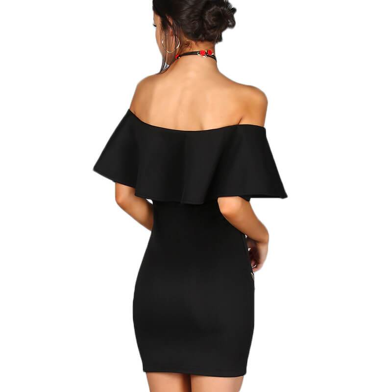 Off Shoulder Ruffles Embroidery Short Bodycon Dress