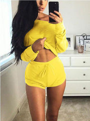 Off Shoulder Loose Crop Top with Shorts Two Pieces Set