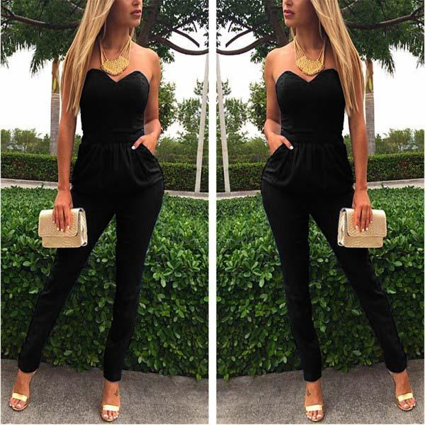 V Neck Sleeveless Bodycon Jumpsuit