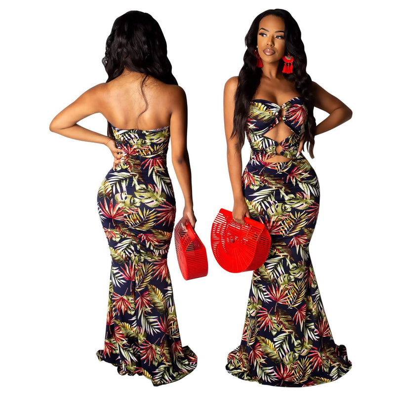 Off Shoulder Hollow Out Straps Print Backless Middle Dress