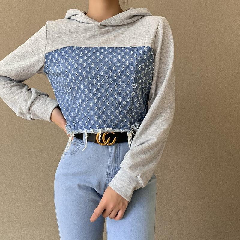Denim patchwork top Hooded Sweater