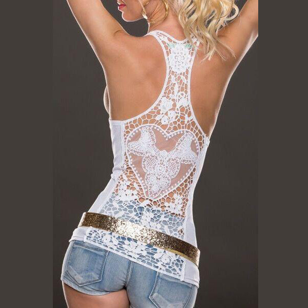 Sleeveless Lace Halter Pure Love Pierced Vest