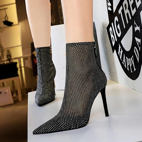 Black Mesh See Through Point Toe High Heel Ankle Boots