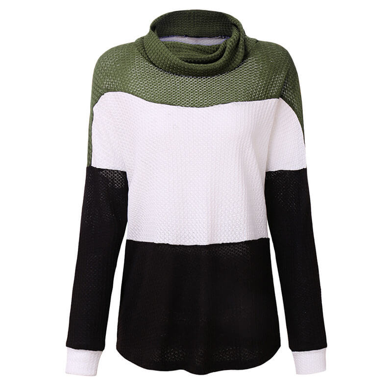 Turtleneck Colorblock Striped Thin Sweater