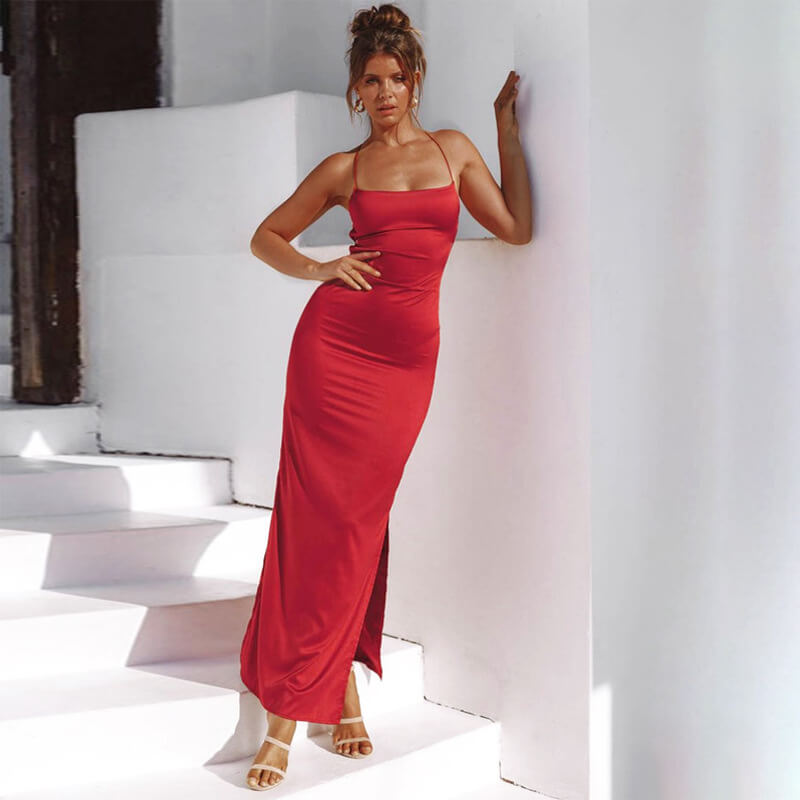 Satin Backless Maxi Slits Dress