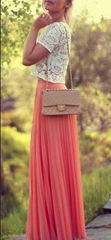 Pure Color Chiffon Pleated Big Long Skirt - Oh Yours Fashion - 8