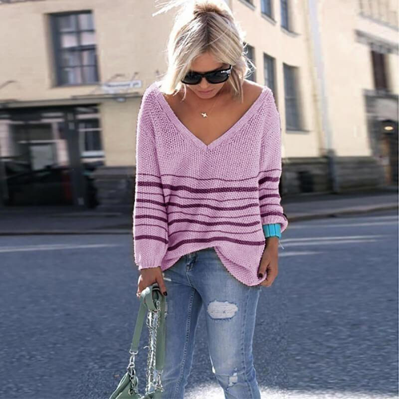 V-neck Striped Loose Women Casual Sweater