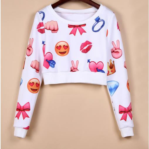 3D Flower Print Scoop Long Sleeves Fashion Sweatshirt - Oh Yours Fashion - 1