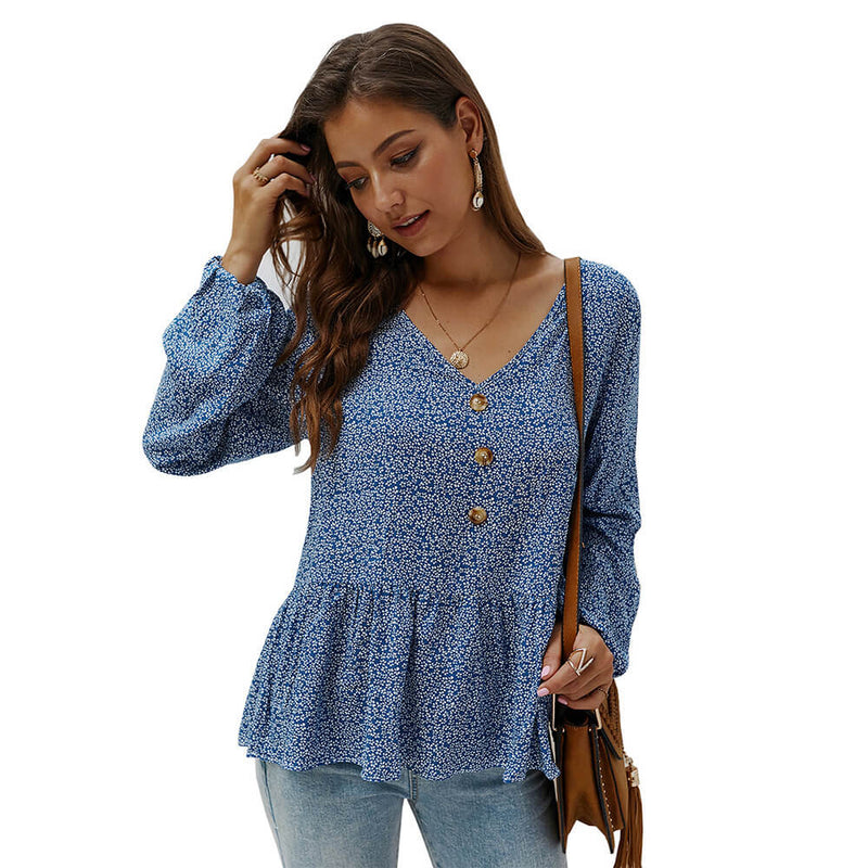 Print V-neck Loose Blouse
