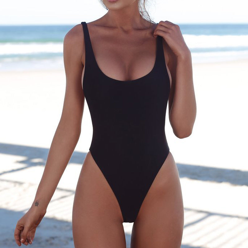 Plain High Cut Slimming Sling Low Back Swimsuits