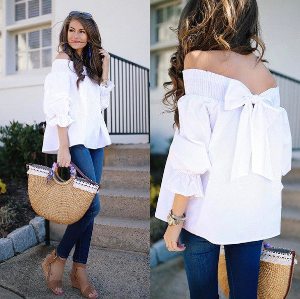 Off Shoulder Pure Color Back Bow-knot 3/4 Sleeves T-shirt