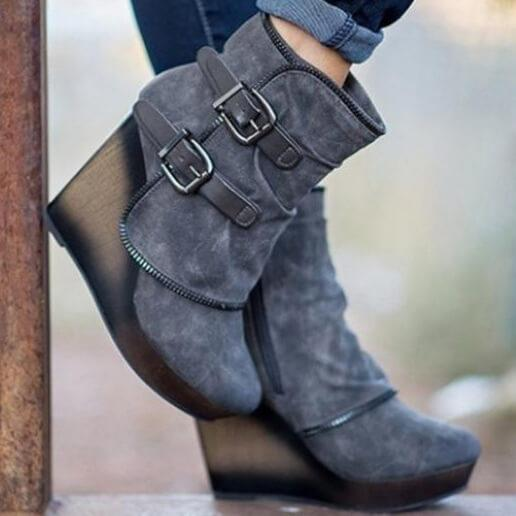 Platform Suede Wedge Ankle Boot