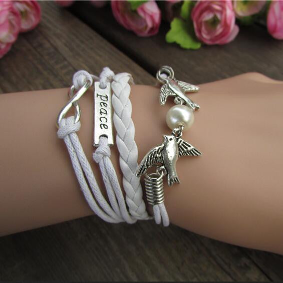 Fashionable Dove Bright Hand-made Leather Cord Bracelet - Oh Yours Fashion