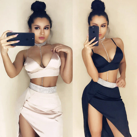 Spaghetti Straps V-neck Crop Top with Irregular Short Skirt Two Pieces Dress Set