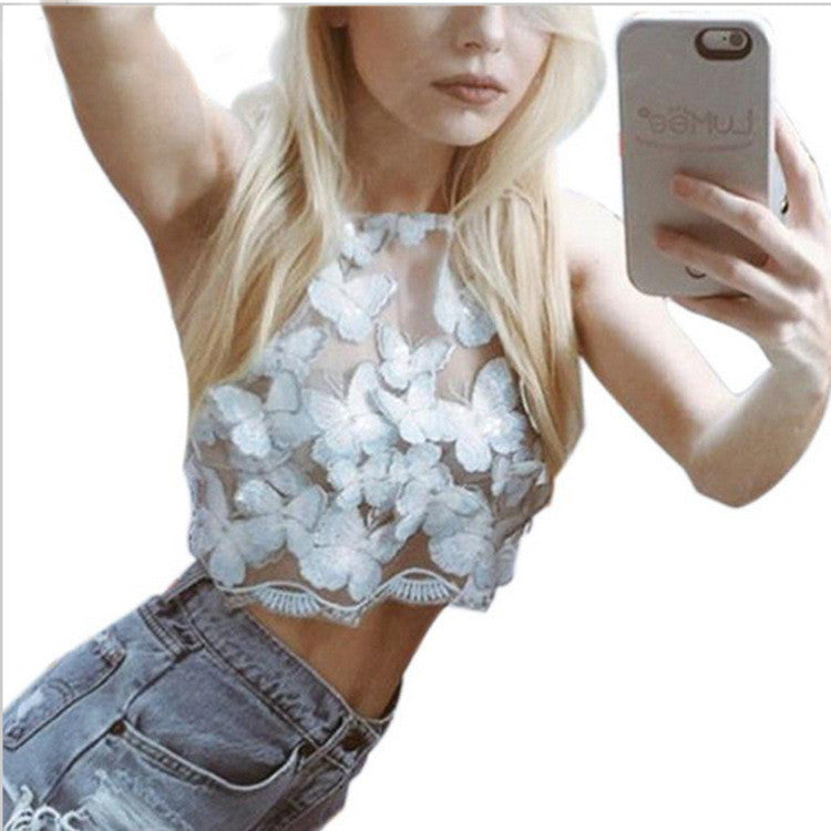 Spaghetti Strap Butterfly Embroidery Backcross Sleeveless Crop Top