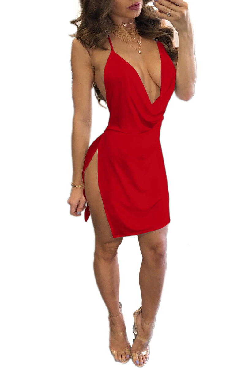 Deep V-neck Spaghetti Straps Split Women Solid Color Short Dress