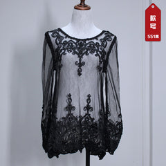 Lace Transparent Long Sleeves Beach Bikini Cover Up Dress