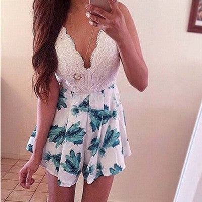 Sexy Lace Patchwork Print V-neck Lace Up Short Jumpsuit