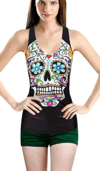 Flower Print Skull H-shaped Sheath Fashion Vest - Oh Yours Fashion - 2