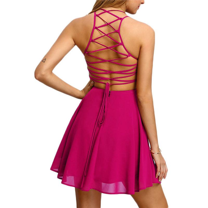 A-line Backless Spaghetti Straps Hollow Out Straps High Waist Short Dress