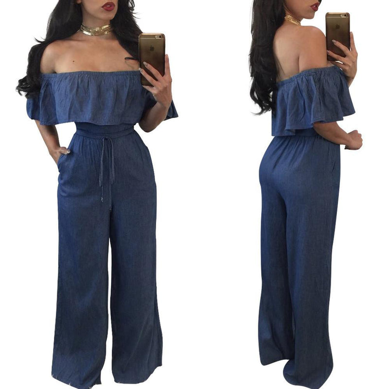 Pure Color Off Shoulder Short Sleeves Long Denim Jumpsuit