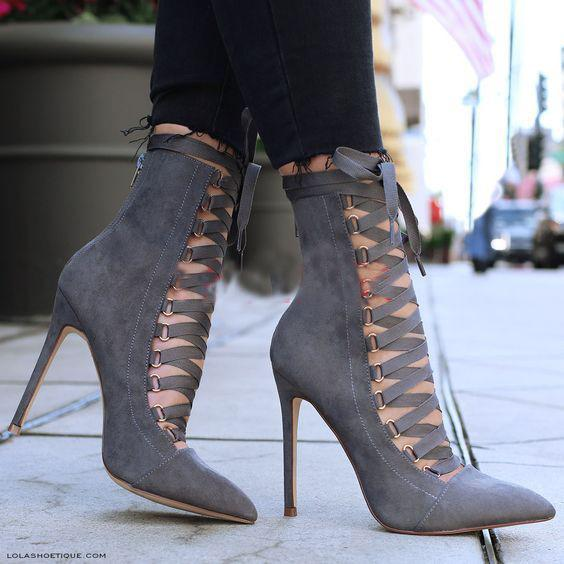Straps Lace UP Pointed Toe Super Stiletto High Heels
