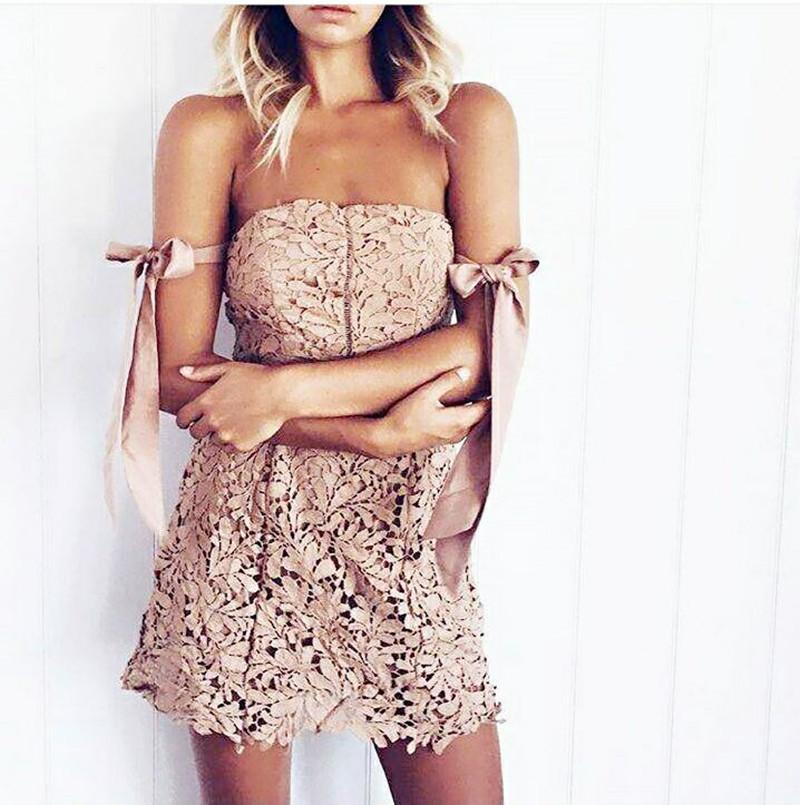 Off Shoulder Straps High Waist Short Lace Dress