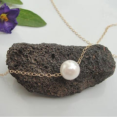 Delicate Pearl Collarbone Necklace Chain - Oh Yours Fashion - 4