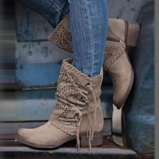 Low Heel Ankle Cutout Boot