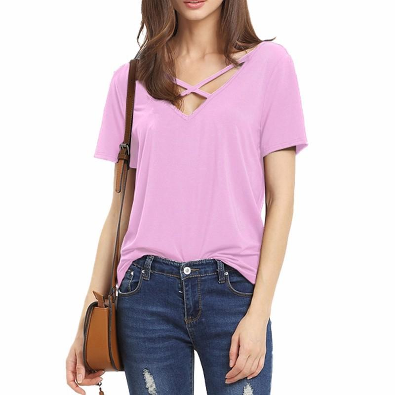 Scoop V-back Pure Color Short Sleeves Regular Blouse