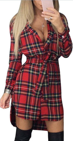Long Sleeves Plaid Long Shirt Blouses With Belt