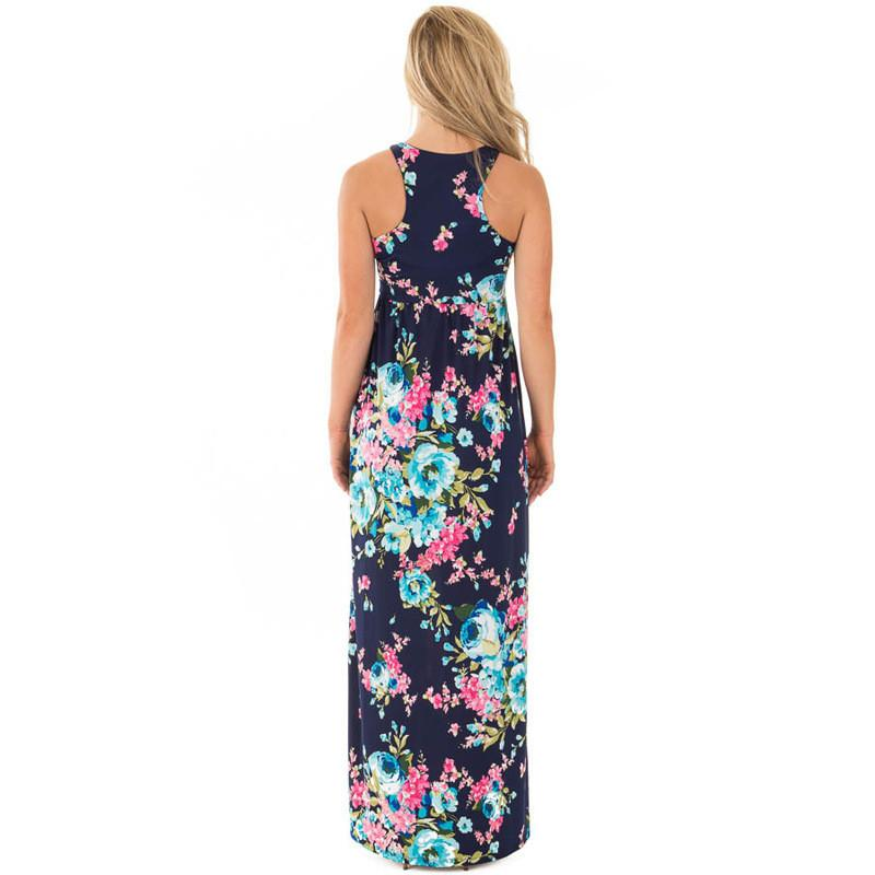 Sleeveless Scoop High Waist Floal Print Long Dress