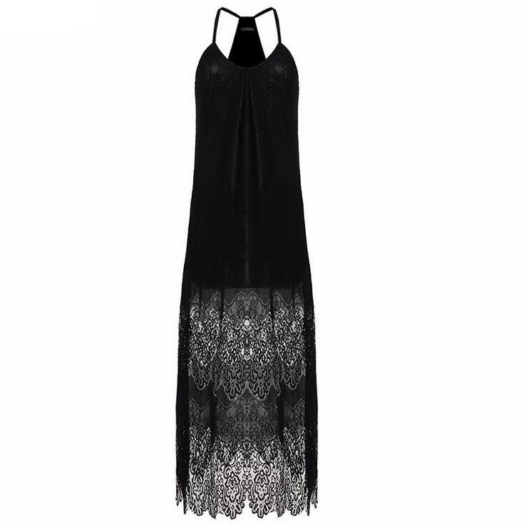Spaghetti Straps Sleeveless V-neck Lace Long Dress