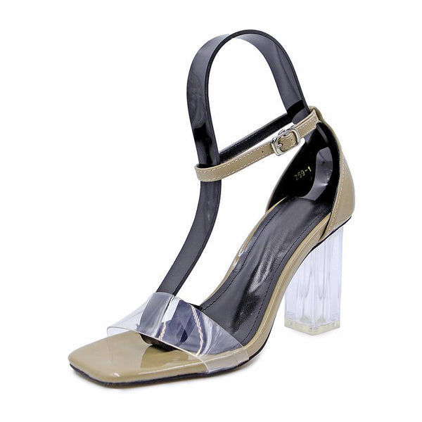 Square Open Toe Transparent Ankle Wrap Chunky High Heels Sandals
