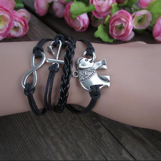 Retro Elephants Hand-made Anchor Bracelet - Oh Yours Fashion