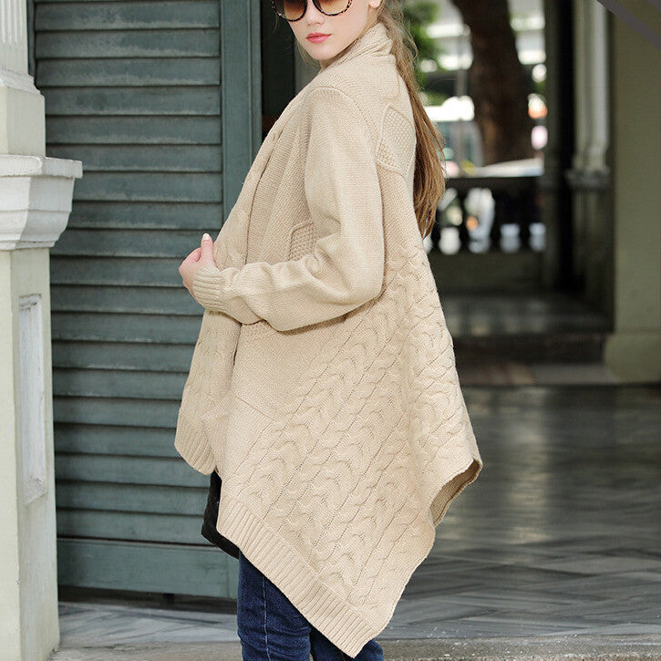 Cardigan Loose Upset Asymmetric Pure Color Sweater - Oh Yours Fashion - 1