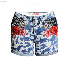 Camouflage Blue Flower Embroidery Curled Hole Denim Shorts