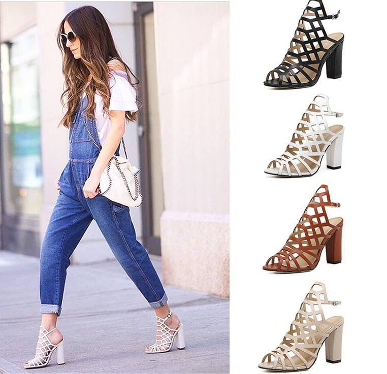 2017 New Trend Cut Out Straps Chunky High Heels Sandals