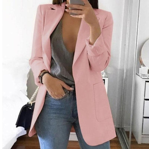 OL Solid With Pockets Midi Blazer