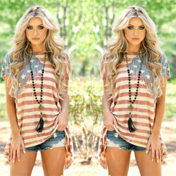 Striped Flag Print Irregular Short Sleeves T-shirt