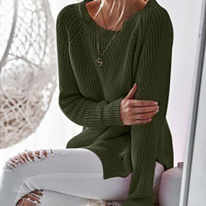 Oversized Slit Pure Color Knit Pullover Sweater