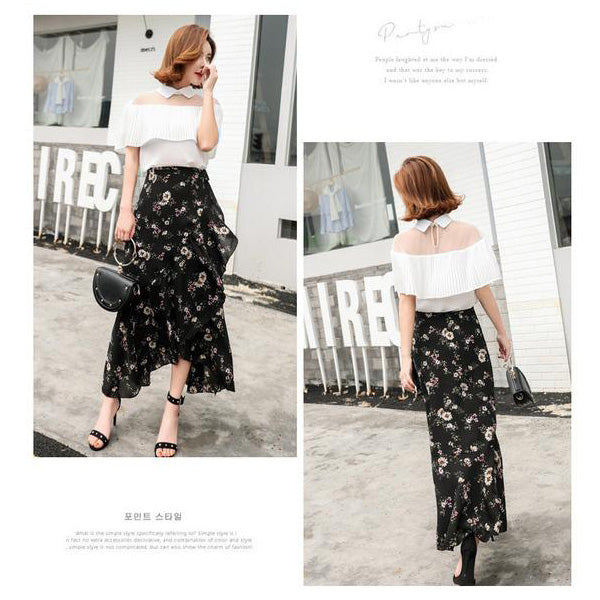 Chiffon Floral Pleated Long Skirt