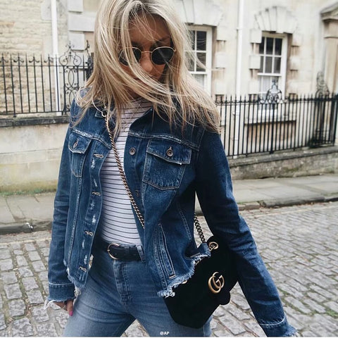 Long Sleeves Stand Collar Irregular Hole Denim Jacket