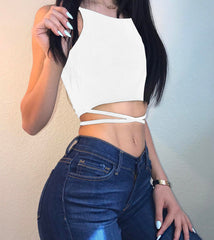 Pure Color Back Cross Bandage Crop Top