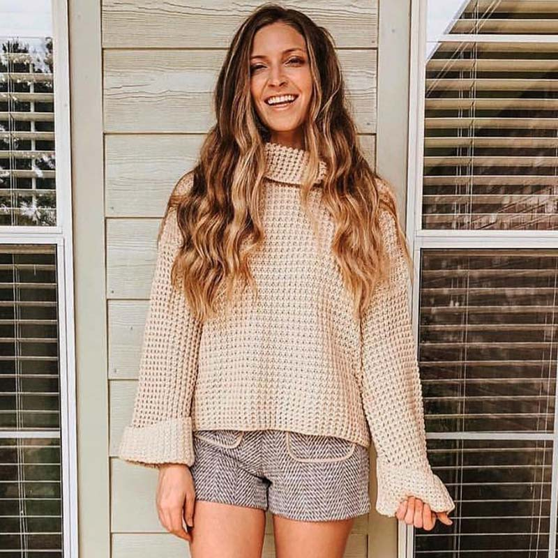 Turtleneck Bell Sleeve Crochet Sweater